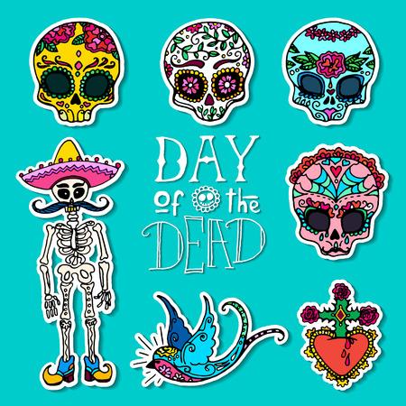 Jour des morts dessinés à la main des autocollants Banque d'images - 87792992
