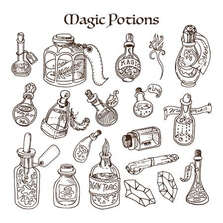 Set of magic potions, tubes and bottles. Doodle style sketch. Illustration