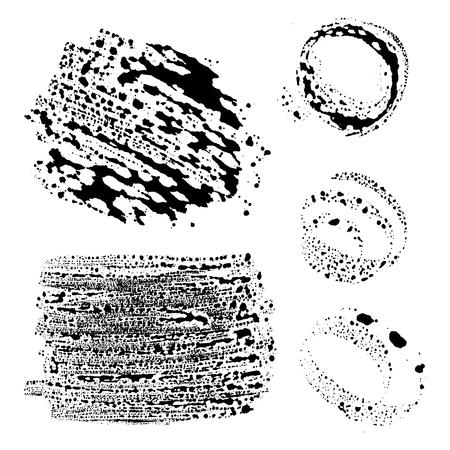wet paint: Abstract grunge elements - liquid paint smears Illustration