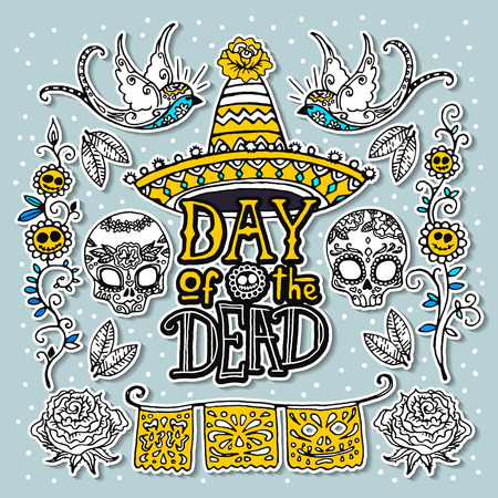 rose tattoo: Dia de los Muertos or Day of the Dead design template. Hand sketched elements. Illustration