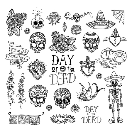 rose tattoo: Dia de los Muertos or Day of the Dead hand sketched doodles