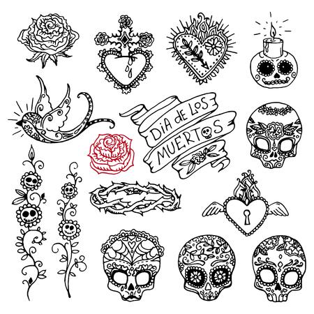Dia de los Muertos o Día de los Muertos dibujados a mano garabatos Foto de archivo - 87792982