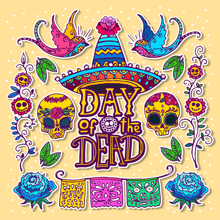 Dia de los Muertos or Day of the Dead design template. Hand sketched elements. Stock Photo