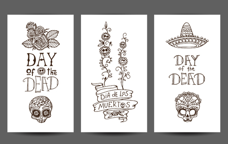 rose tattoo: Dia de los Muertos or Day of the Dead hand sketched doodles - set of 3 design templates