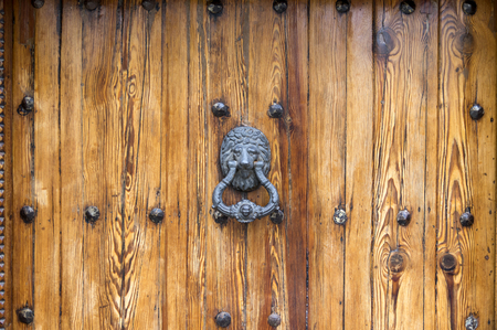 Lion Head Door Knocker on aged wooden door with knobs