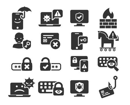 Cyber Security, Threat and Warnings icons set in BW Illustration
