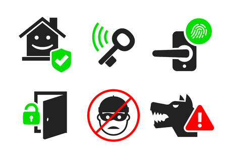 Home security and protection icon set