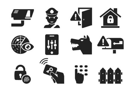 Home security and protection icon set 03 Stock Photo