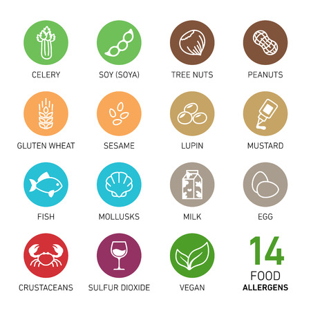 Set of icons of food allergens Vettoriali