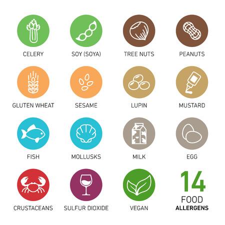 食物アレルゲンのアイコンのセット
