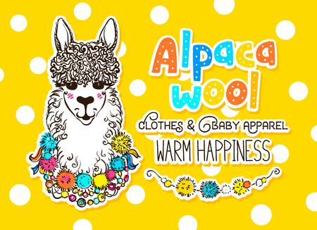 chilean: Alpaca wool design template with alpaca portrait drawing