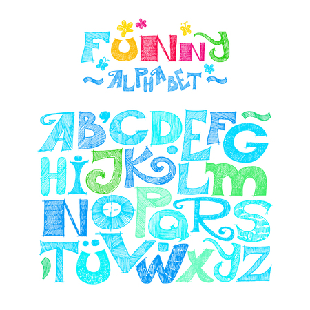 Hand drawn decorative alphabet. Sketchy ABC letters and numerals. Colorful elements isolated on white Stock Photo