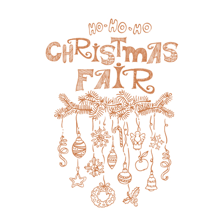 Christmas fair, market announcement poster, card template Stock Photo