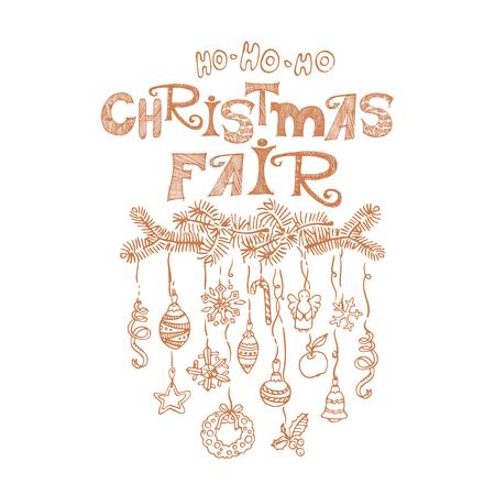Christmas fair, market announcement poster, card template Zdjęcie Seryjne
