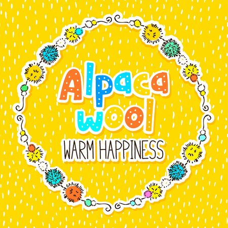 Alpaca wool label design with yellow dashed seamless background - for wrapping paper, packaging. Stock Photo