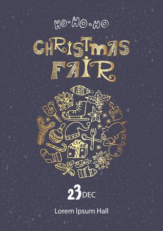 Kerst eerlijke poster sjabloon. Hand getrokken doodles in goud op donkere grijze achtergrond
