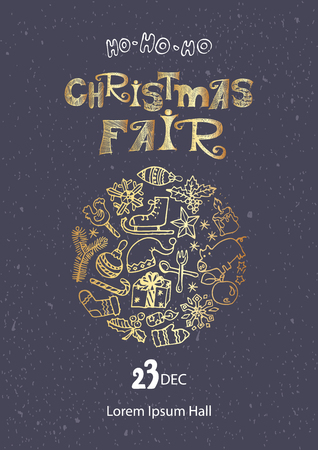 Christmas fair poster template. Hand drawn doodles in gold on dark grey background
