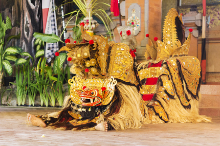 Balinese traditional dance with Barong. Barong is a lion-like creature and character in the mythology of Bali, Indonesia.