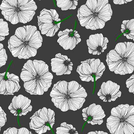 Seamless floral pattern. Hand drawn flowers