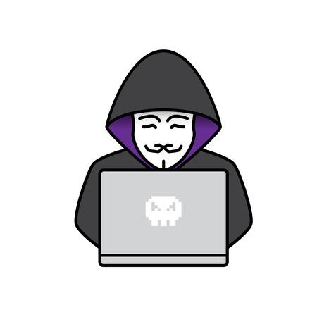 Icon of Hacker. Flat design Standard-Bild