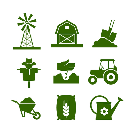 Agriculture industry and gardening. Icons set