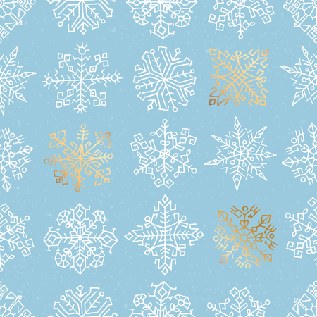 Seamless pattern with hand drawn snowflakes. Ethnic design. White and golden objects on light blue background
