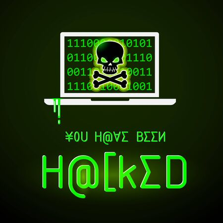 Illustration of laptop with binary code and crossbones on display. Message You Have Been Hacked