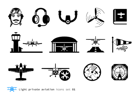 Light private aviation icons set. Piston-powered aircraft.