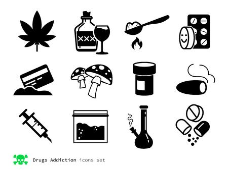 Drugs and addiction black icons set Illustration