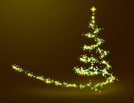 gold christmas background: Christmas tree lighting Stock Photo