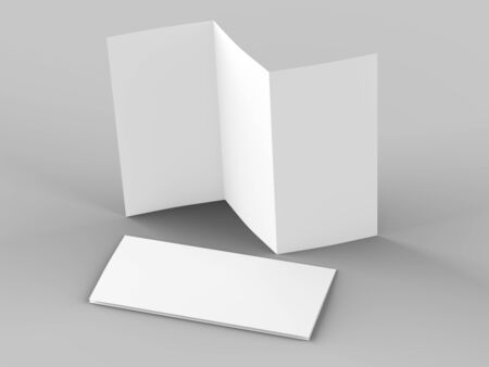 Open trifold brochure in A4 format mockup.3d illustartion