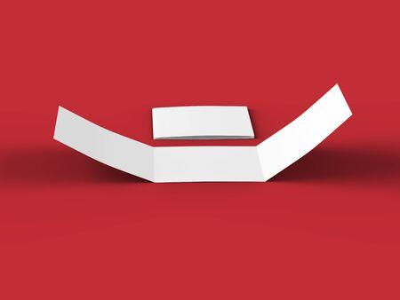 Open tri-folded leaflet in square format. 3d illustration