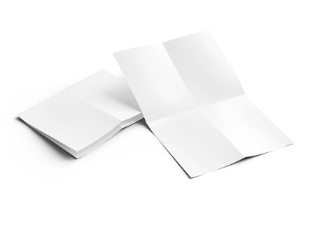Sheet of paper folded to four. Letter or poster mockup. 3d illustration Фото со стока