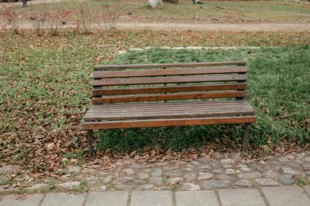 Brown bench in the autumn park Archivio Fotografico