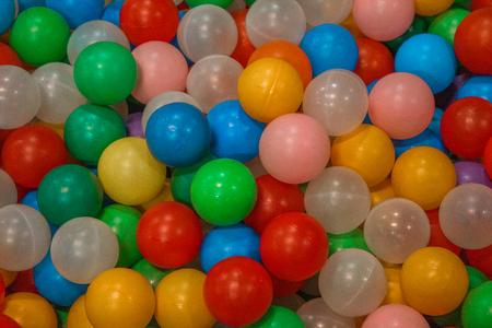 Multi-colored balls in the children's center Archivio Fotografico