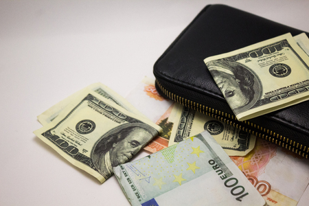Dollars and euros with wallet on a white background
