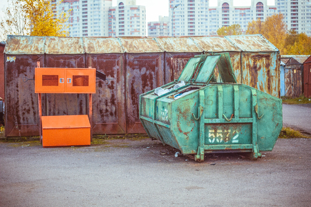 trash cans for garbage separation for recycling in garage Imagens