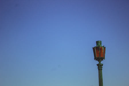 Antique Lantern on a background of blue sky in northern Venice