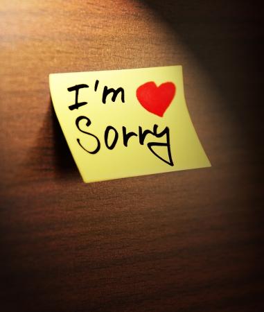 comunicaci�n escrita: lo siento manuscrita Foto de archivo