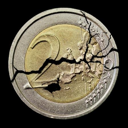 gebarsten coin Stockfoto