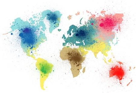 kleurrijke wereldkaart met verf spatten