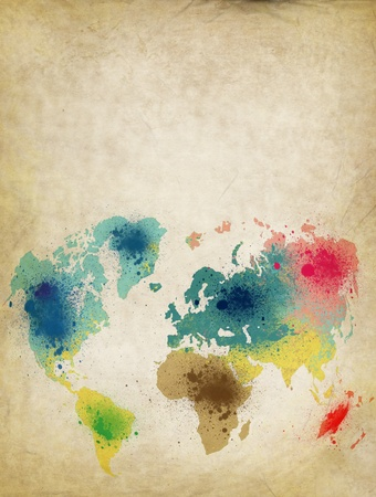 vintage world map: world map with colorful splash on old paper