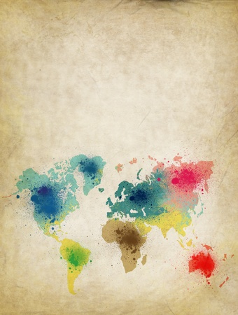 world map with colorful splash on old paper photo