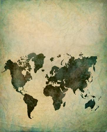 vintage world map: vintage brown world map Stock Photo