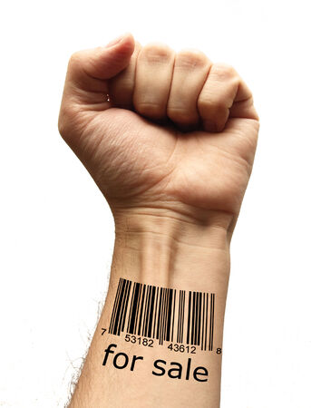 closed fist sign: bar code on hand