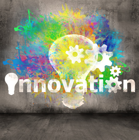innovation symbol on concrete wall background Stock Photo - 26884174