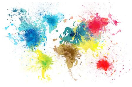 wereldkaart met verf spatten