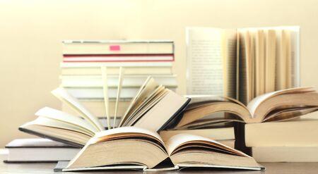 hardcover: many hardcover books Stock Photo