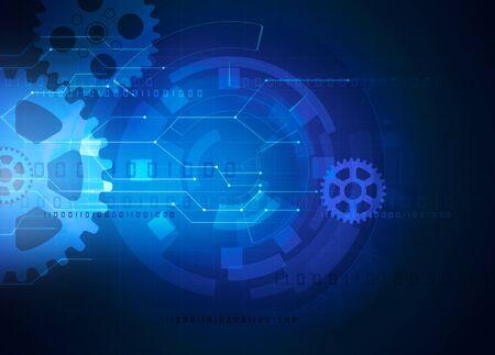 gear futuristic technology blue background Reklamní fotografie