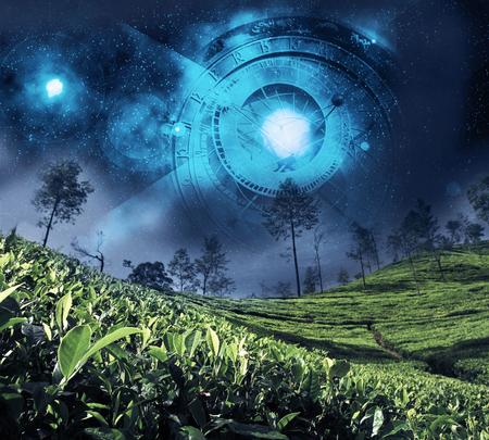 astrology zodiac on the night sky Standard-Bild